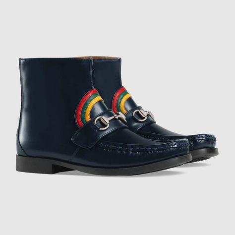 1d4d5d6fd5e Shop the Children s rainbow Horsebit leather boot by Gucci. null