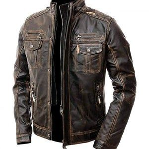 Real Leather Black  Durable Biker Premium Quality Winter Men Shirt