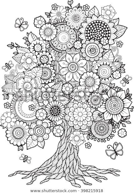 Find Blossom Tree Vector Elements Coloring Book Stock Images In Hd And Millions Of Other Royalty Free Stoc Mandala Zum Ausdrucken Ausmalbilder Mandala Ausmalen