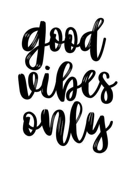 Good Vibes Only, Office Wall Art, Black And White, Motivational Quote, Inspirational Quote Art Print by Forever Art Studio - X-S