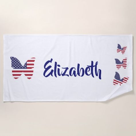 Patriotic Butterfly American Flag Usa Butterflies Beach Towel