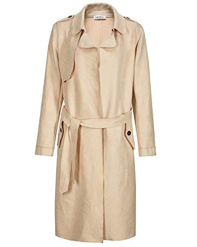 French Belted Trench Waterfall CoatWomen Italian Long Duster Jacket Ladies 8-16