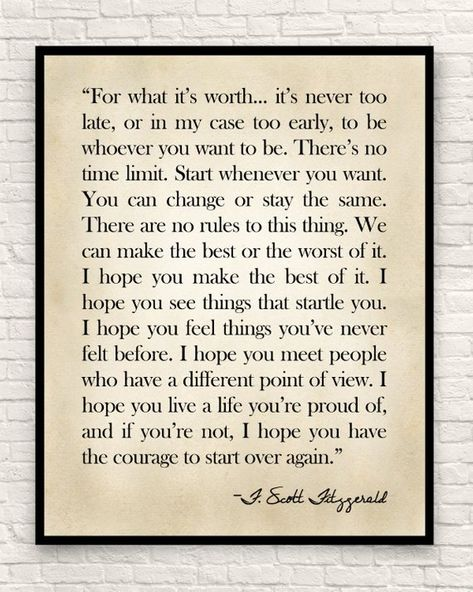 F. Scott Fitzgerald Quote, Fitzgerald Quote, Custom Art Print, Farmhouse Decor, For What it's Worth, Christmas Gift, Gift for Book Lovers