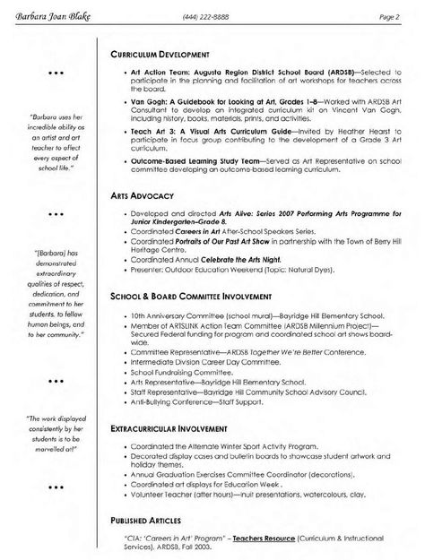 Elementary Art Teacher Resume - http\/\/topresumeinfo\/elementary - performing arts resume