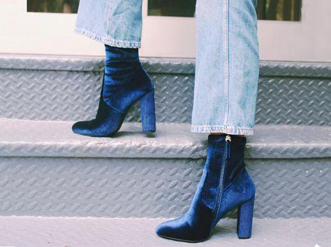 Sestito New Fashion 2018 Woman Sexy Flock Chunky Heels Ankle Boots Ladies Pointe. Sestito New Fashion 2018 Frau Sexy Flock Chunky Heels Stiefeletten Damen Pointed Toe Seite Reißverschluss High Heels Kleid Kurze Stiefel