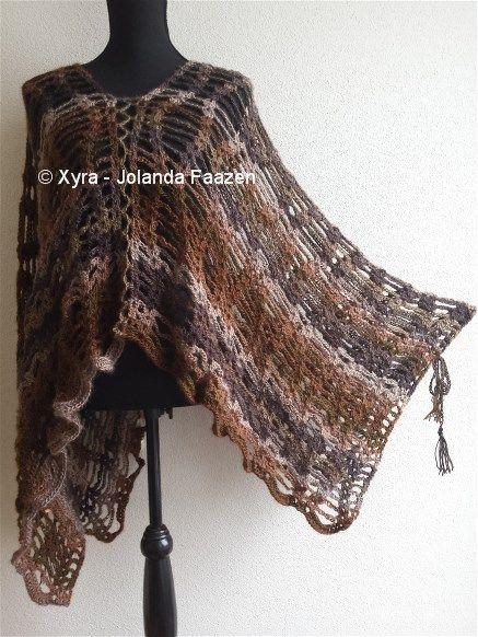 Patr1016 Poncho Haakpatroon Patroon Haken Gehaakt Crochet