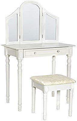 in legno con specchio mobile da camera jeffordoutlet specchio + 1 cassetto Tavolo da trucco per ragazze