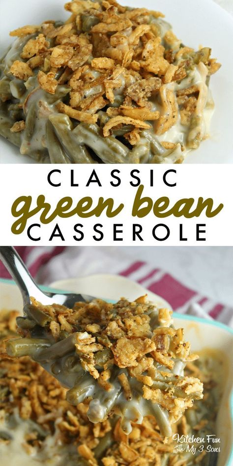 The BEST Green Bean Casserole - Perfect for the Holidays! A Classic Green Bean Casserole is such a delicious side dish that everyone loves and takes very little skill. This is our favorite Thanksgiving recipe! Best Thanksgiving Recipes, Thanksgiving Sides, Holiday Recipes, Cilantro, Classic Green Bean Casserole, Green Bean Casserole Easy Thanksgiving, Vegan Green Bean Casserole, The Best Green Beans, Dressings