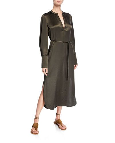 TY2Z0 Vince Band Collar Silk Midi Shirt Dress (With images