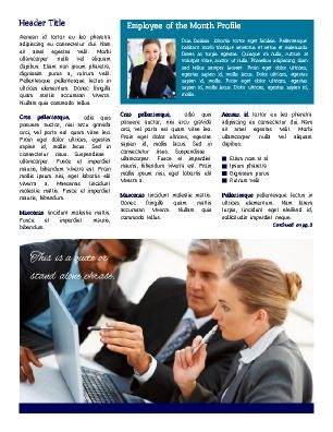 Inside Page 1 General Business Newsletter 3 column, blue theme - company newsletter template free