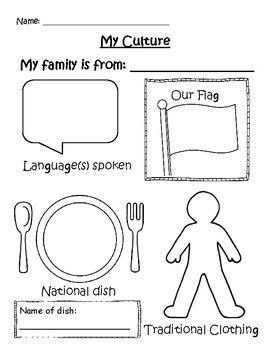 My Culture Graphic Organizer Teaching Culture Multicultural Activities Kindergarten Social Studies Culture worksheets for kindergarten