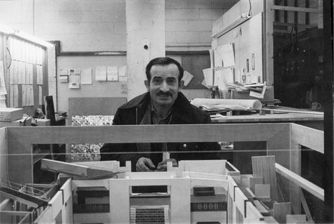 Stanley Kubrick's longtime personal assistant Emilio D'Alessandro poses behind a model of the The Shining's massive Colorado Lounge set. These models were used to work out layout and scale issues, as well as to conduct early lighting tests before the actual sets were built.  (photo courtesy Filippo Ulivieri, who has written an Italianbiography of Emilio D'Alessandro)