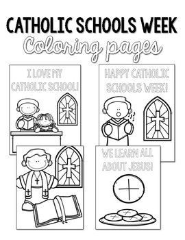 Catholic Schools Week Coloring Pages Celebrate Catholic Schools Week With These Easy Print Catholic Schools Week School Week Catholic Schools Week Activities
