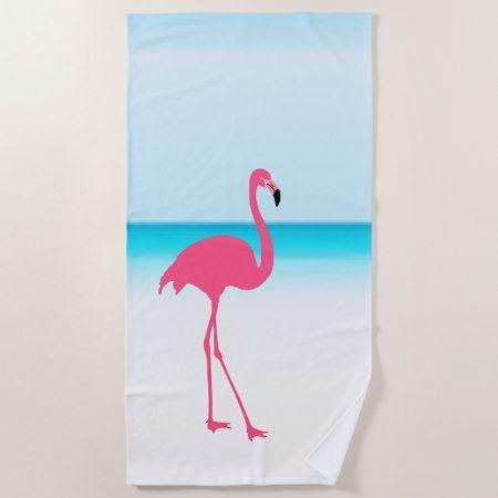 One Cute Pink Flamingo On The Beach Beach Towel Zazzle Com
