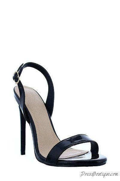 Black Open Toe Slingback Heels. #heels