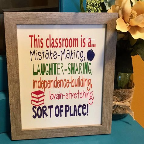 This Classroom Is ... Positive Classroom Wall Art Print, FRAMED - gray
