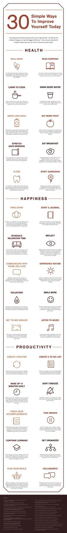 30 Simple Ways to Improve Yourself Today (Infographic) - Oradyne