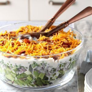 Overnight Layered Lettuce Salad Recipe In 2020 Cornbread Salad Layered Salad Recipes