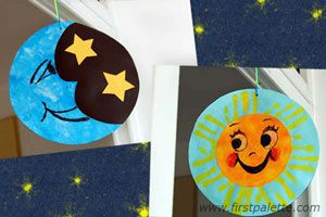 Teach children about the sky with this revolving day and night decoration.