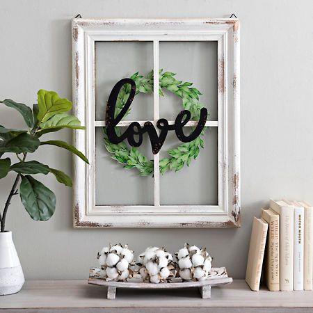 Love Wreath 4 Pane Window Plaque Window Frame Decor Window Crafts Window Pane Decor