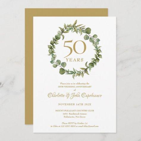 50th Golden Wedding Anniversary Greenery Garland #50thgoldenweddinganniversary #greenerygarland #50years #goldfiftieth #vowrenewal #elegant #anniversaryparty #chicromantic #countrygardenoutdoor #modern