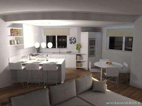 Cucina con soggiorno - Cucina con soggiorno bianco