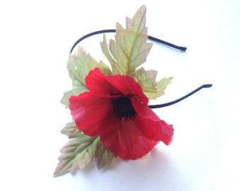 Red Black Poppy Hair Flower headband