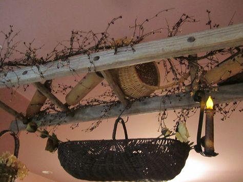 Prim Room Divider...old apple pickin' ladder with primitives.