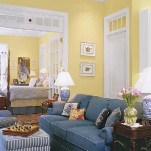 Keep A Room Sunny (Yet Private) With A Clever Trick | Denim Sofa, Yellow  And Yellow Walls