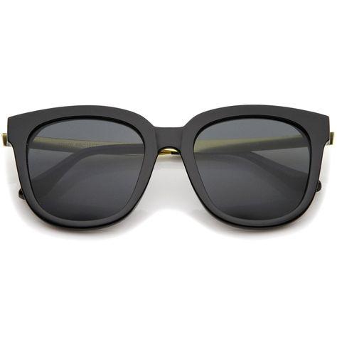 cbef465705 Modern Horn Rimmed Metal Temple Square Flat Lens Cat Eye Sunglasses 54mm   frame  sunglass  sunglasses  oversized  womens  purple  mirrored  bold   summer   ...