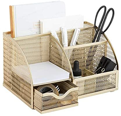 Amazon Com Designer Metal Gold Desk Organizer Metal With Gold Finish Gold Desk Accessories Desk Organize In 2020 Desk Organization Gold Desk Decorative Storage