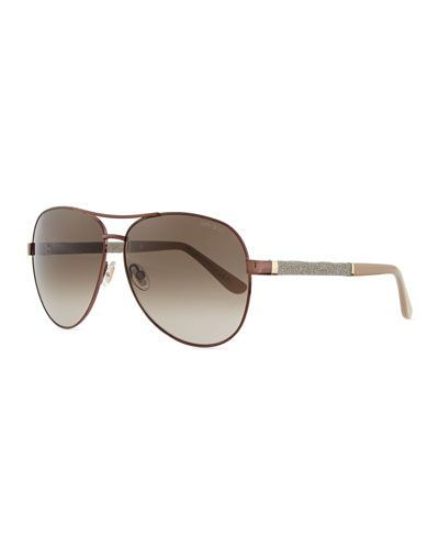 11abee021f7f JIMMY CHOO LEXI AVIATOR SUNGLASSES WITH CRYSTAL TEMPLES