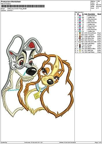 Lady And The Tramp Applique Design 01 INSTANT DOWNLOAD