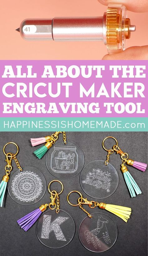 Learn all about the Cricut Engraving Tool Tip and engrave with your Cricut Maker machine! The Cricut Engraving Tip can engrave soft metals, acrylic, leather, paper, and plastic to add a variety of project options to your crafting arsenal! Cricut Ideas, Cricut Tutorials, Ideas For Cricut Projects, Cricut Vinyl Projects, Cricut Explore Projects, Diy Projects, Cricut Explore Air, Circuit Crafts, Circuit Projects
