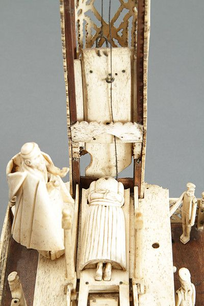 Large Napoleonic Prisoner Of War Carved Bone Working Model Of The French Revolutionary Guillotine England Bone Carving