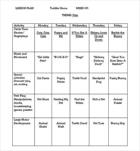 Sample Toddler Lesson Plan 8 Example Format Lesson Plans For