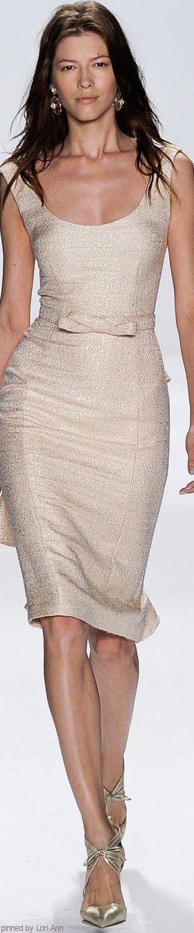 Cream dress. Badgley Mischka Spring 2015 RTW