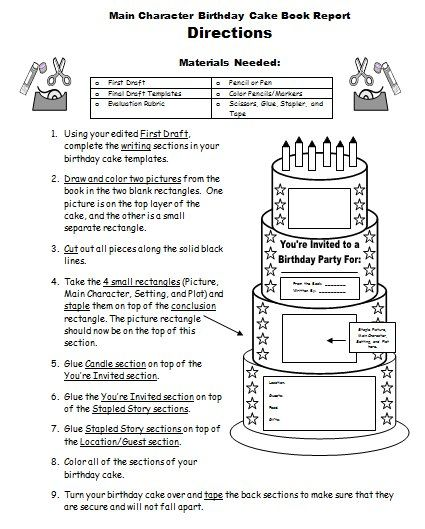 Birthday Cake Book Report Project Templates Worksheets Rubric