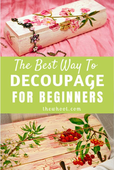 Learn how to decoupage for beginners with this video tutorial that shows you the best way using Mod Podge for a wrinkle and bubble free result. Decoupage Tins, Napkin Decoupage, Decoupage Tutorial, Decoupage Vintage, Diy Decoupage Wall, Decopage Wood, How To Decoupage Furniture, Diy Crafts Vintage, Diy Tutorial