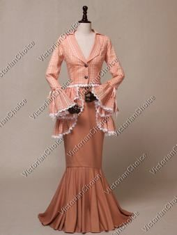Edwardian Downton Abbey Form Fitting 3PC Suit Dress Theatre Halloween Gown 328