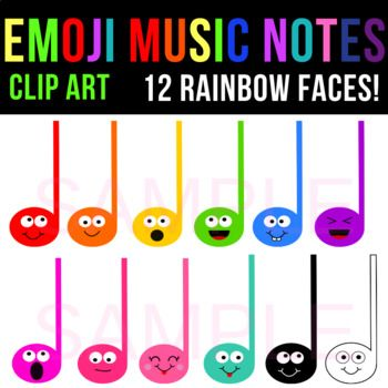 Emoji Music Notes And Staff Clipart 12 Music Note Faces Tpt Music Notes Clip Art Music Clipart