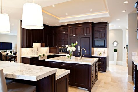 Spectacular Kitchen Design With Tall Tray Ceiling And Wall To Wall