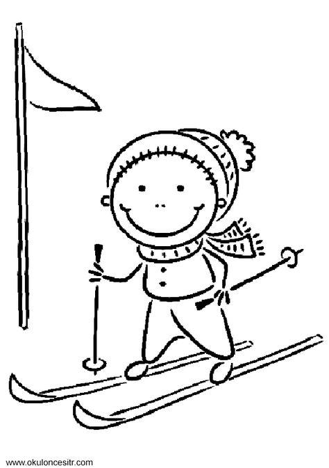 Kış Mevsimi Boyama Sayfası Winter Easy Drawings Ski Drawing Art