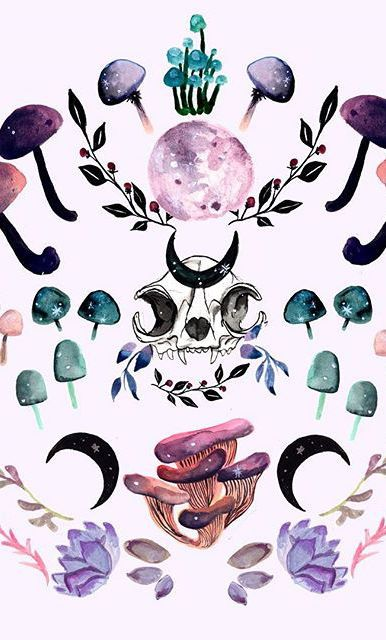 Midnight Mushrooms New Work On My Society6 Witchy Wallpaper Wiccan Wallpaper Witch Wallpaper