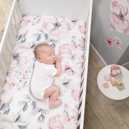 Lambs Ivy Signature Botanical Baby Watercolor Floral Cotton Crib Sheet White Walmart Com In 2020 Baby Crib Bedding Sets Crib Bedding Baby Sheets