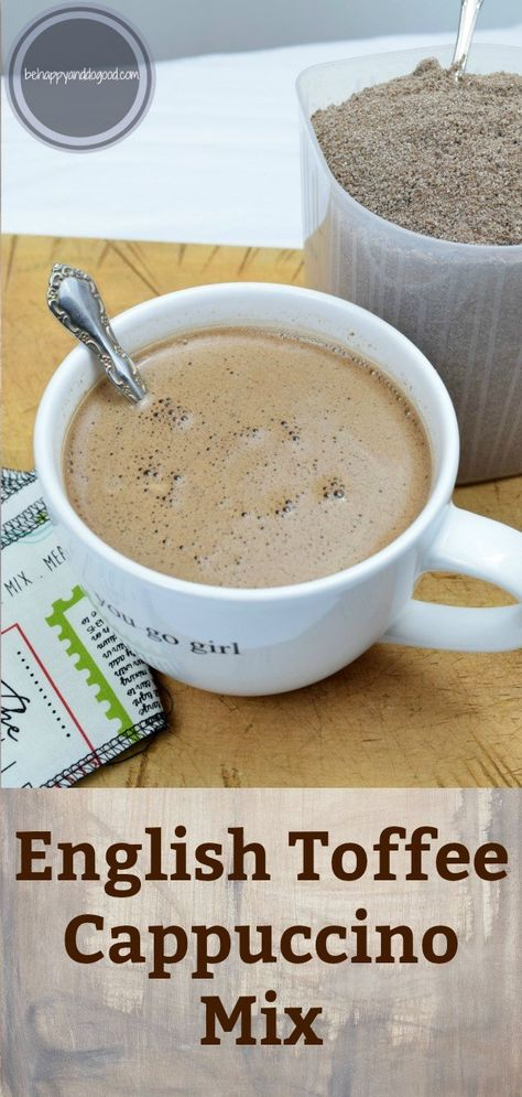 An easy make-at-home substitute for gas station coffee. English Toffee Cappuccino Mix is ready in less than ten minutes, this rich & creamy beverage is perfect any time! Homemade Coffee Creamer, Coffee Creamer Recipe, Cinnabon, Strudel, French Vanilla Creamer, French Vanilla Cappuccino Mix Recipe, Coffee Mix, Coffee Drinks, Coffee Cups