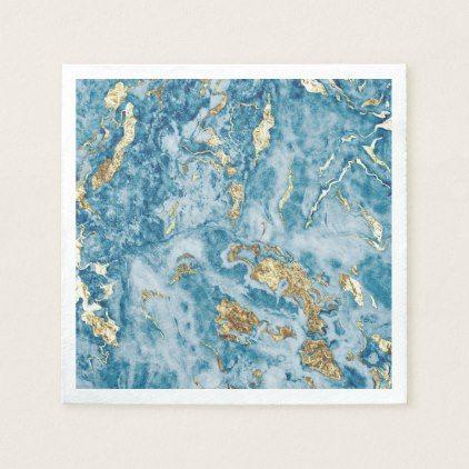 Blue And Gold Foil Marble Napkins Zazzle Com Gold Foil Foil Personalized Paper Napkins