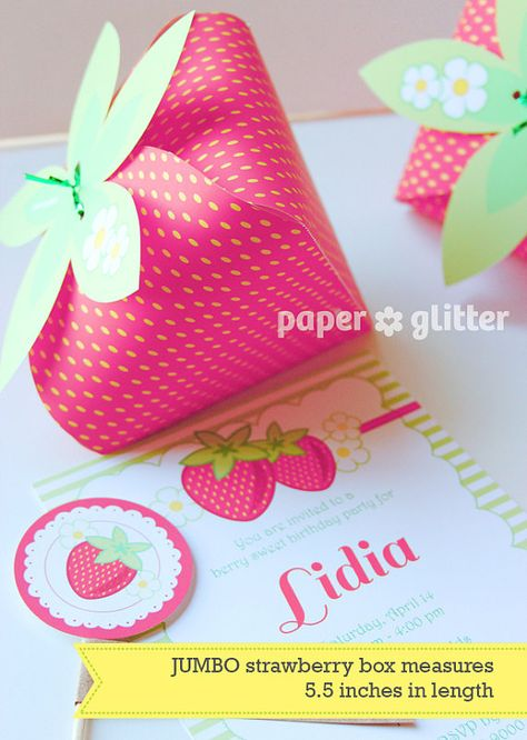 Strawberry Paper favor party box printables PINK by paperglitter,