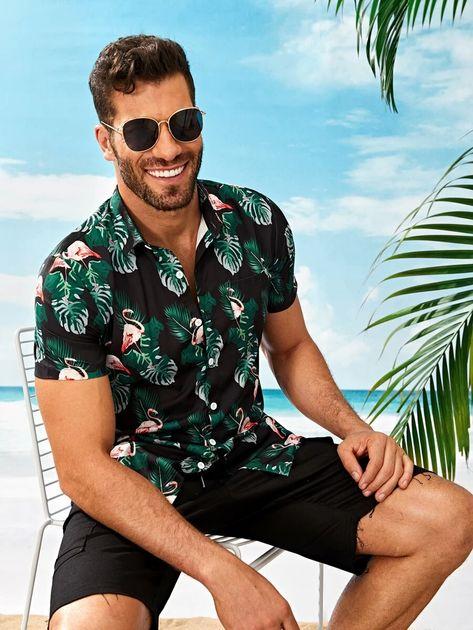 Men Tropical & Flamingo Print Shirt | SHEIN USA