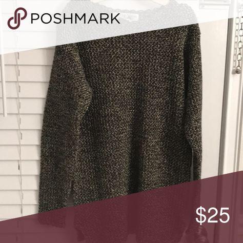 Saks Fifth Avenue Crochet Metallic Sweater Crochet Metallic Knit